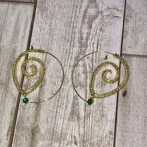 Jewelry - Gold Boho Spiral Drop Earrings